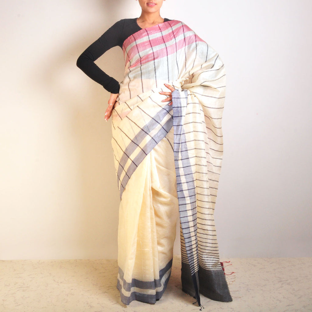 White Striped Tussar Saree by VYUTI