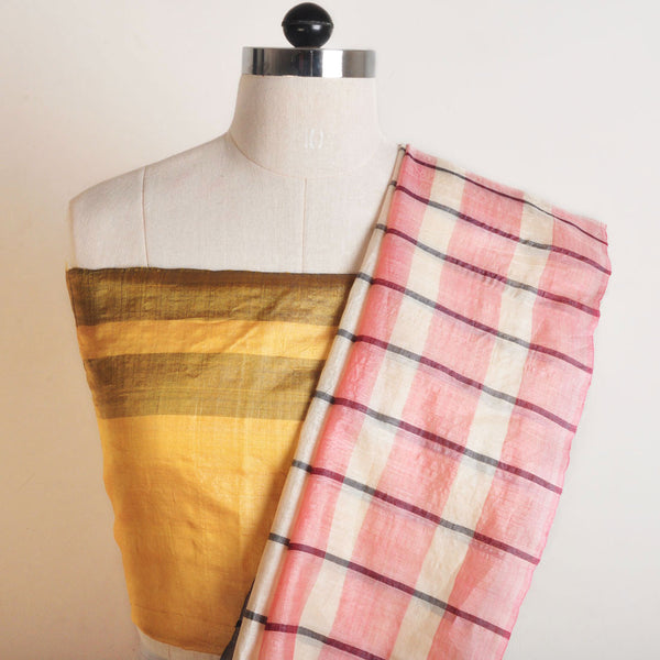 White Striped Tussar Saree