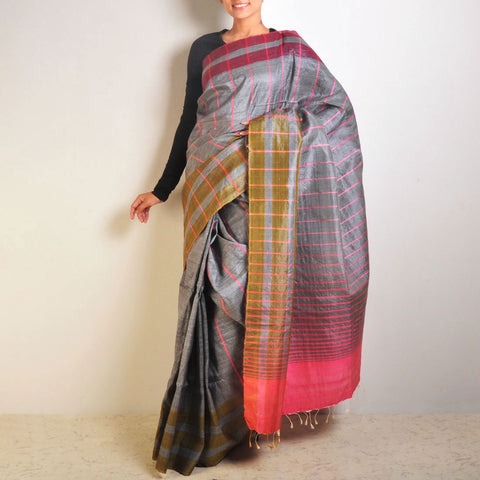 Grey Striped Tussar Saree by VYUTI