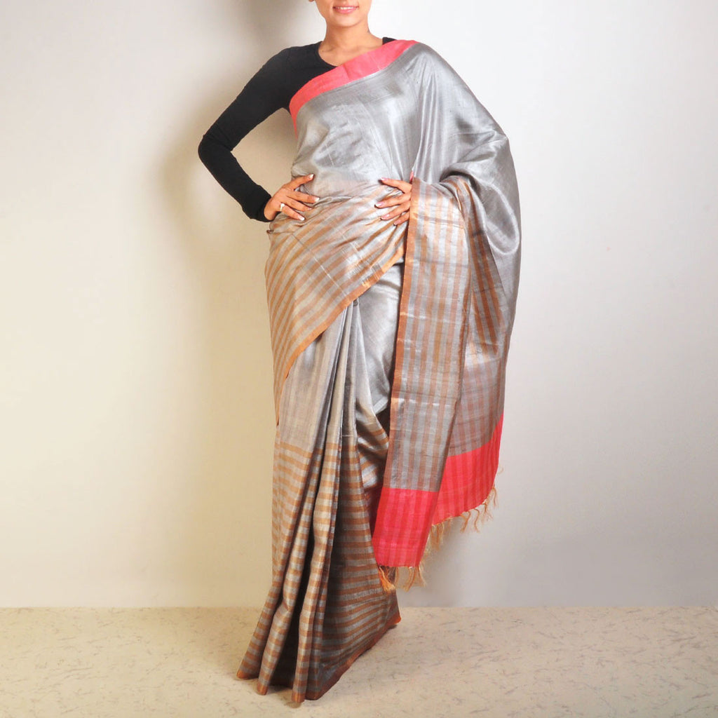 Grey And Orange Tussar Saree by VYUTI