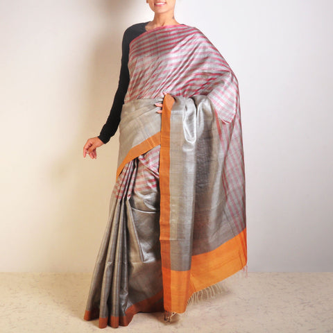 Grey And Red Tussar Saree by VYUTI