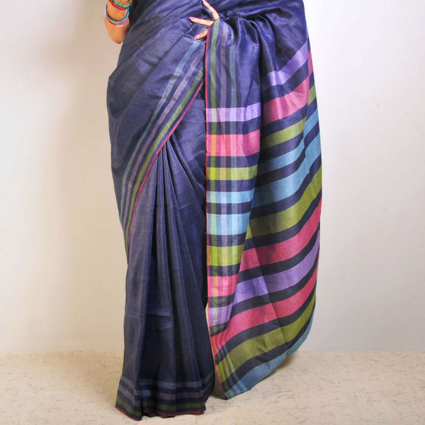 Blue Tussar-Linen Saree