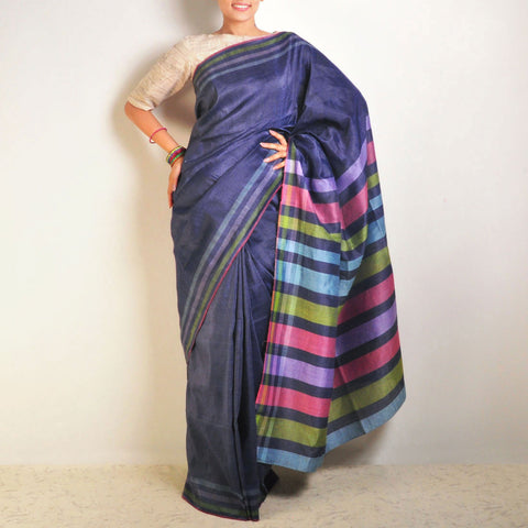 Blue Tussar-Linen Saree by VYUTI
