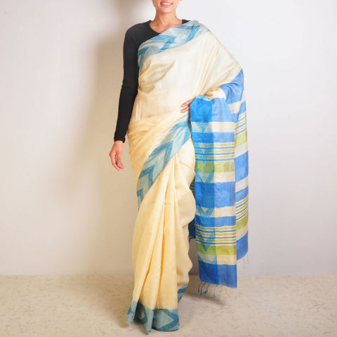 Blue Arrow Tussar Saree by VYUTI