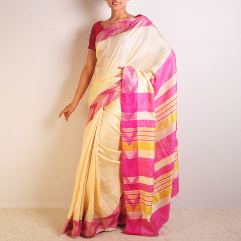 Pink Arrow Tussar Saree by VYUTI