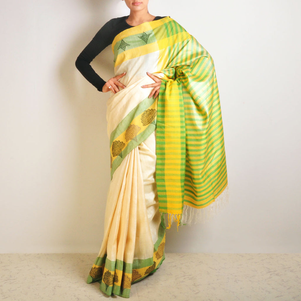 Floral Tussar Saree by VYUTI