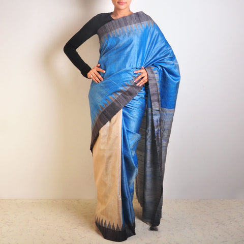 Blue Double Phera Tussar Saree by VYUTI