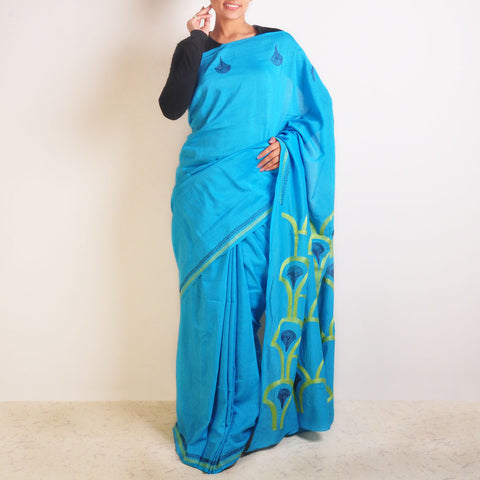 Peacock Motif Chanderi Saree by VYUTI