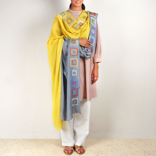Yellow-Grey Chanderi Dupatta