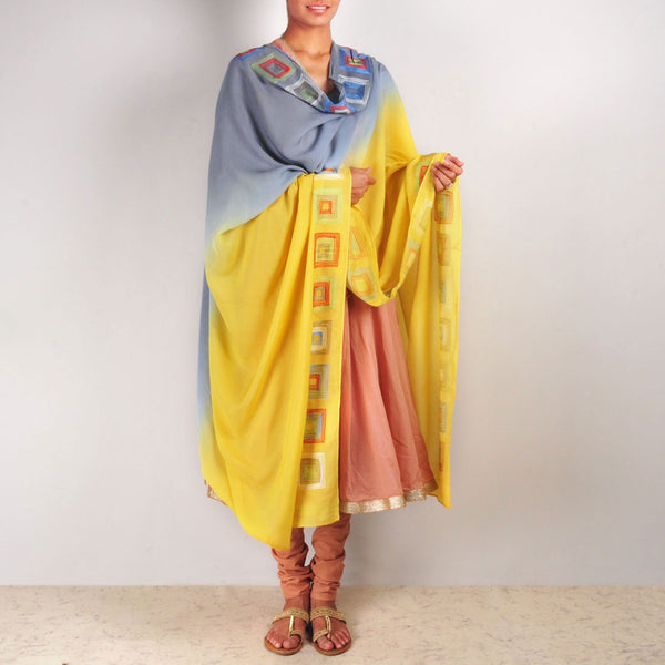 Yellow-Grey Chanderi Dupatta by VYUTI