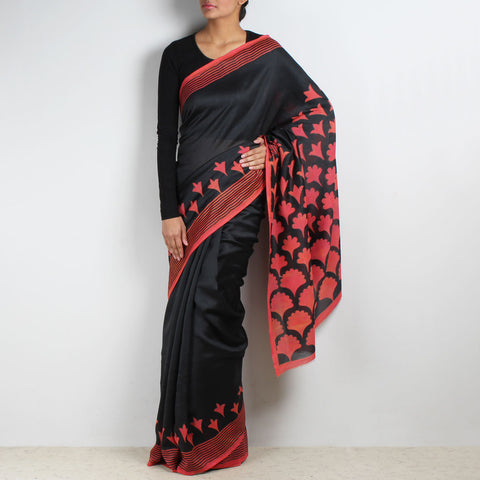 Gradiation Floral Block Printed Chanderi Saree by VYUTI