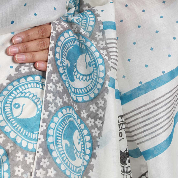 Fish Motif Chanderi Saree
