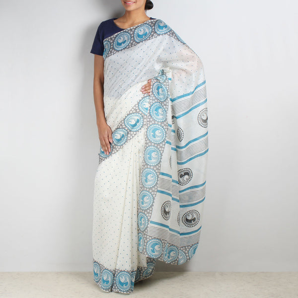 Fish Motif Chanderi Saree by VYUTI