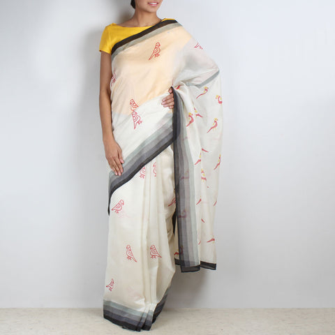 Parrot Block Printed Chanderi Saree by VYUTI