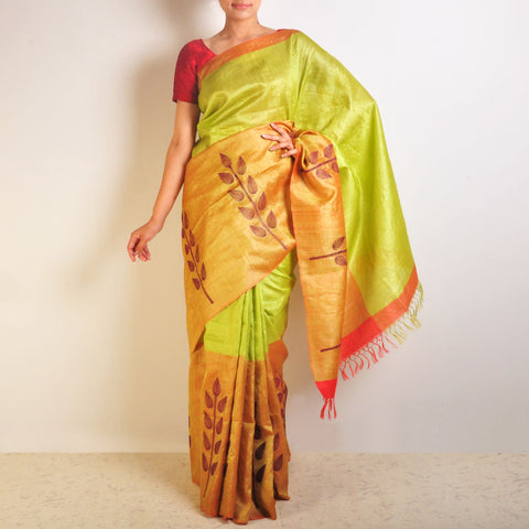Leafy Tussar Saree by VYUTI