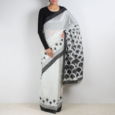 White Gradiation Floral Block Printed Saree by VYUTI