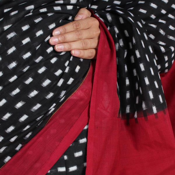 Red Barfi Ikat Cotton Saree
