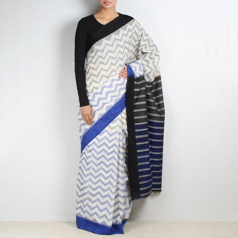 Blue-Grey Zig Zag Ikat Saree by VYUTI