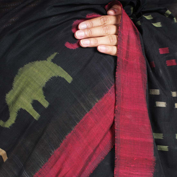 Elephant Ikat Cotton Saree