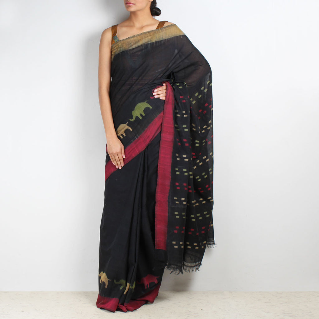 Elephant Ikat Cotton Saree by VYUTI