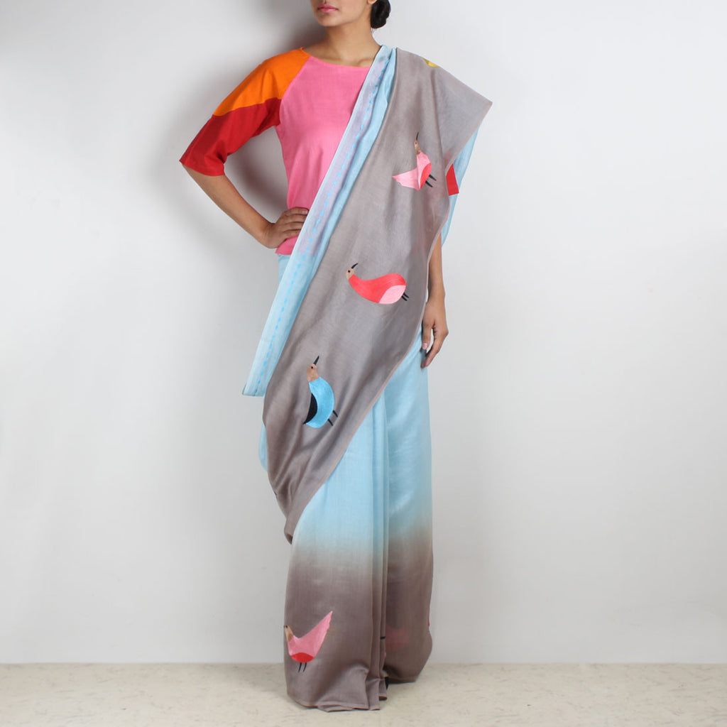 Blue Dove Embroidered Shaded Saree by VYUTI