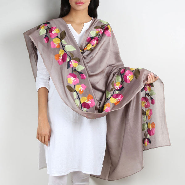 Grey Floral Embroidered Chanderi Dupatta