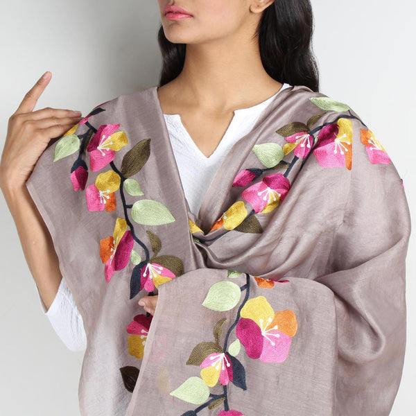 Grey Floral Embroidered Chanderi Dupatta by VYUTI
