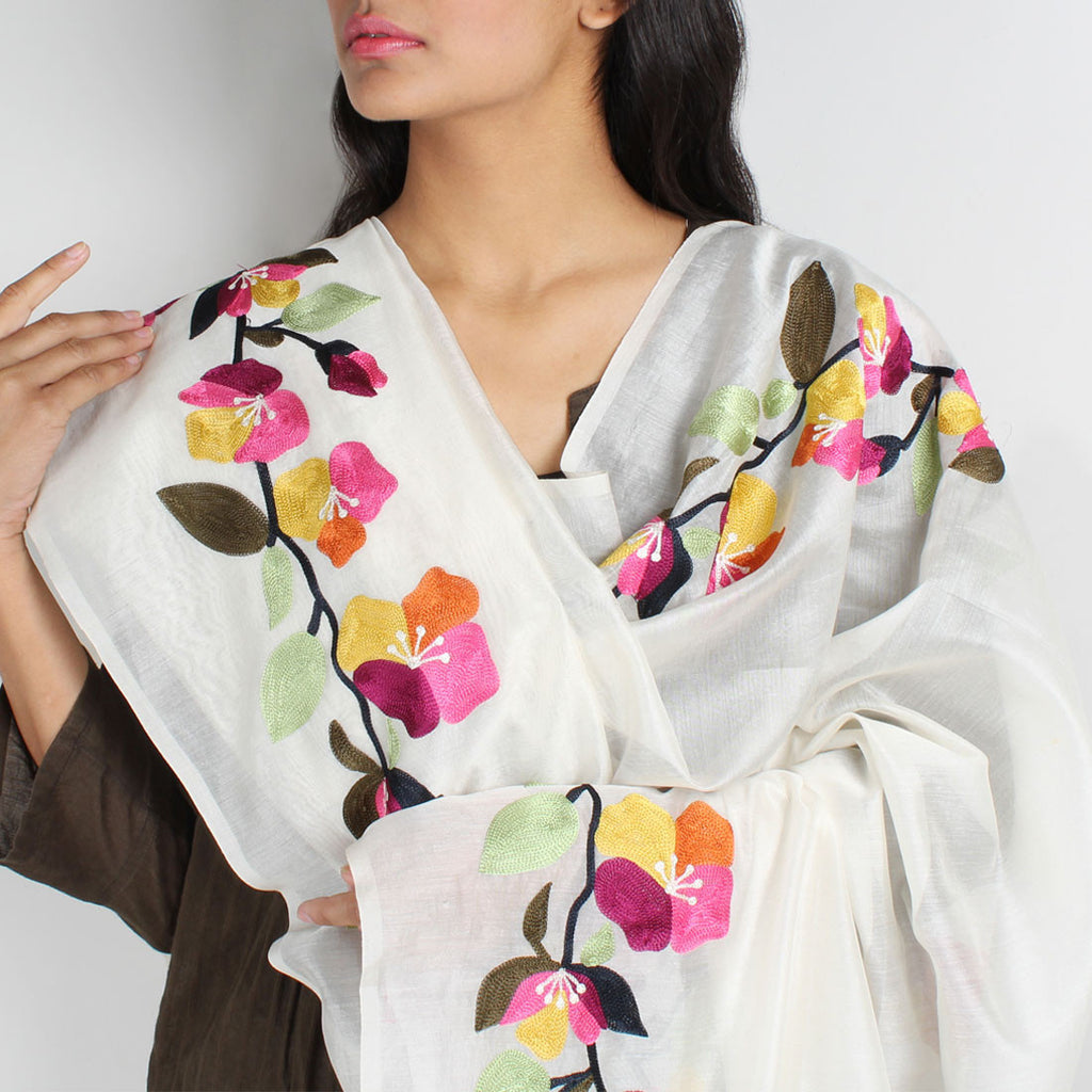 White Floral Embroidered Chanderi Dupatta by VYUTI