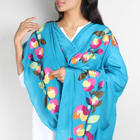 Blue Floral Embroidered Chanderi Dupatta by VYUTI