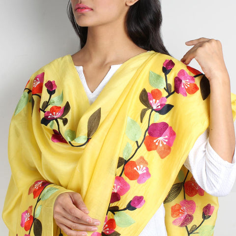 Yellow Floral Embroidered Chanderi Dupatta by VYUTI