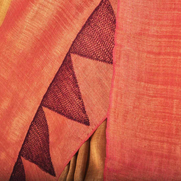 Temple Motif Tussar Saree