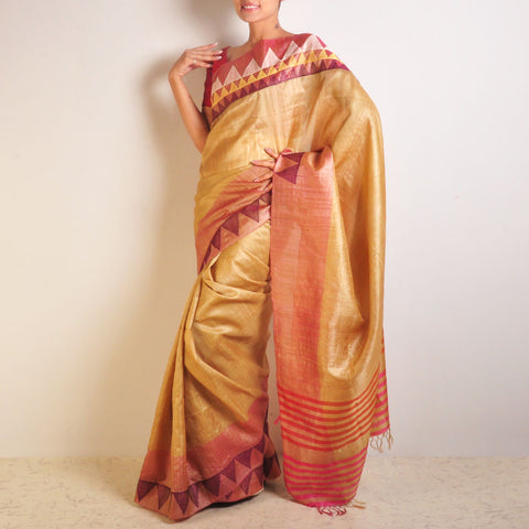 Temple Motif Tussar Saree by VYUTI