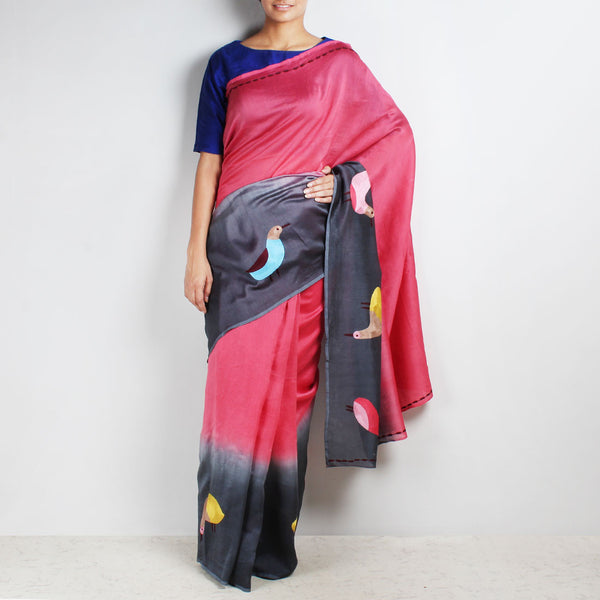 Embroidered Dove Motif Ombre Chanderi Red & Grey Saree