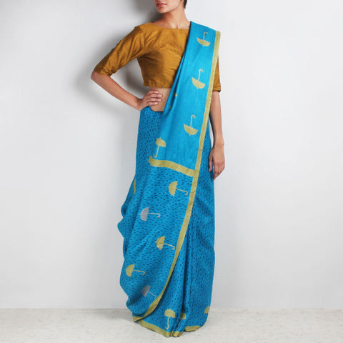 Blue Block Printed Umbrella Motif Silk Saree by VYUTI