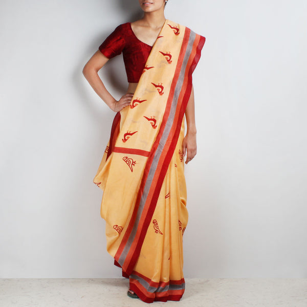 Orange Parrot Motif Block Printed Chanderi Saree