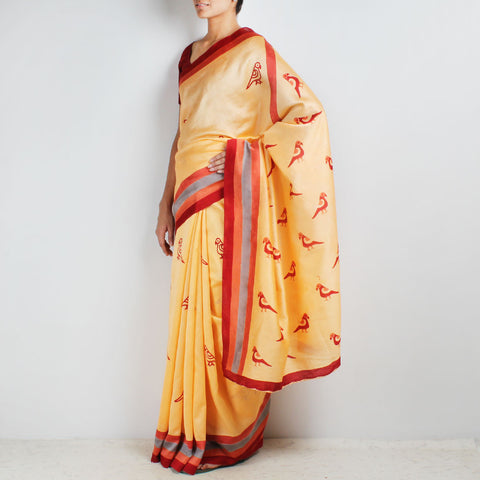 Orange Parrot Motif Block Printed Chanderi Saree by VYUTI