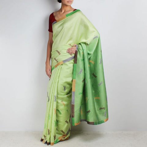 Green Dragonfly Block Printed Chanderi Saree by VYUTI