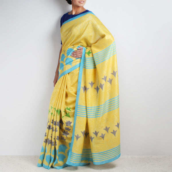 Yellow Floral Block Printed Chanderi Saree