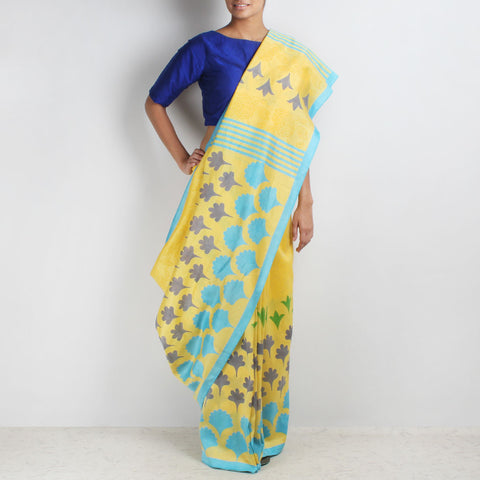 Yellow Floral Block Printed Chanderi Saree by VYUTI