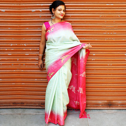Mint & Pink Tussar Silk Handloom by VYUTI