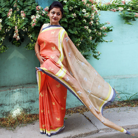 Peach Tussar Silk Handloom Saree by VYUTI