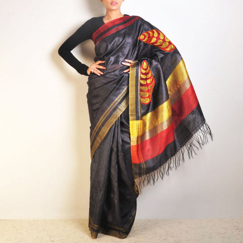 Black Leaf Tussar Saree by VYUTI