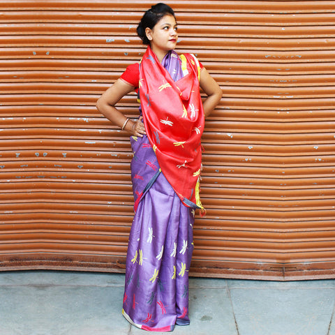 Mauve & Red Tussar Silk Handloom Saree by VYUTI