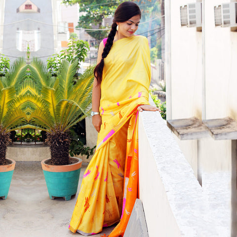 Yellow Tussar Silk Handloom Saree by VYUTI