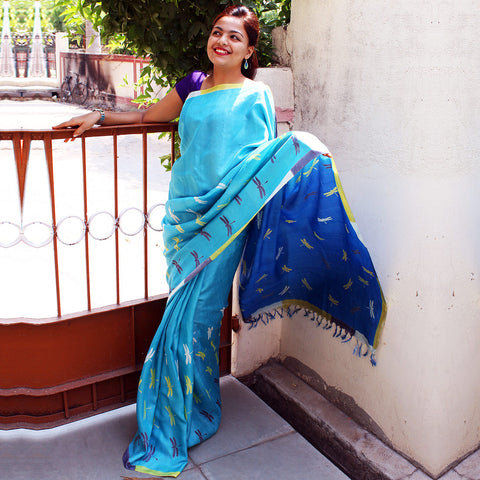 Blue Tussar Silk Handloom Saree by VYUTI