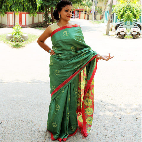 Green Tussa Sik Handloom Saree by VYUTI