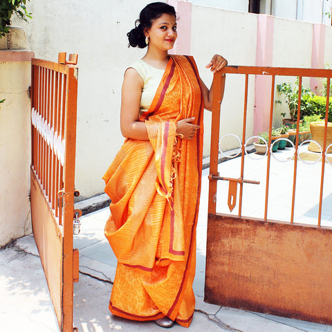 Orange Tussar Silk Handloom Saree by VYUTI