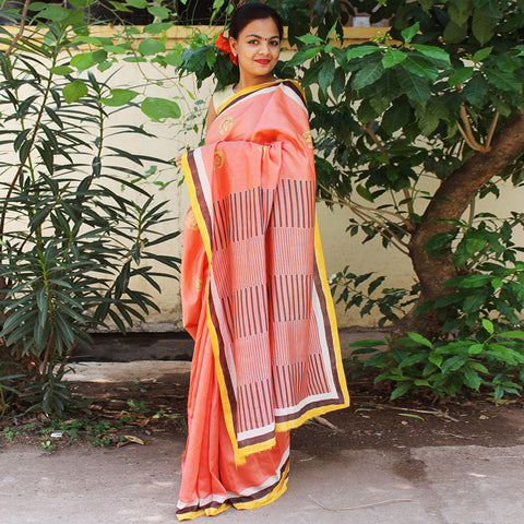 Peach Chanderi Handloom Handloom Saree by VYUTI