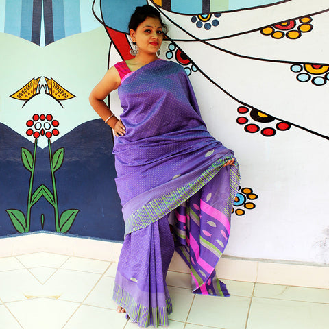 Purple Chanderi Handloom Handloom Saree by VYUTI
