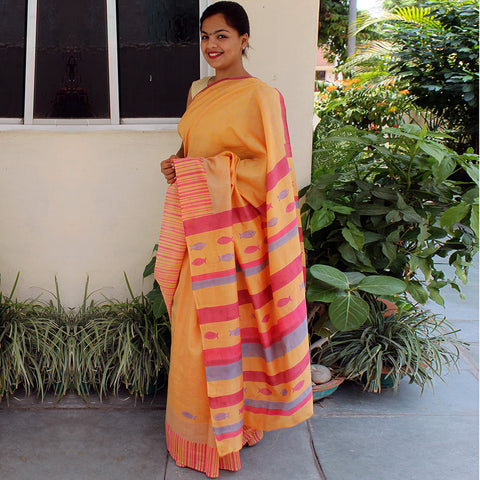 Orange Chanderi Handloom Saree by VYUTI